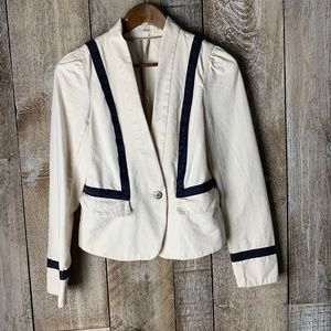 Ann Taylor Loft Blazer White Black Trim Sailor 4